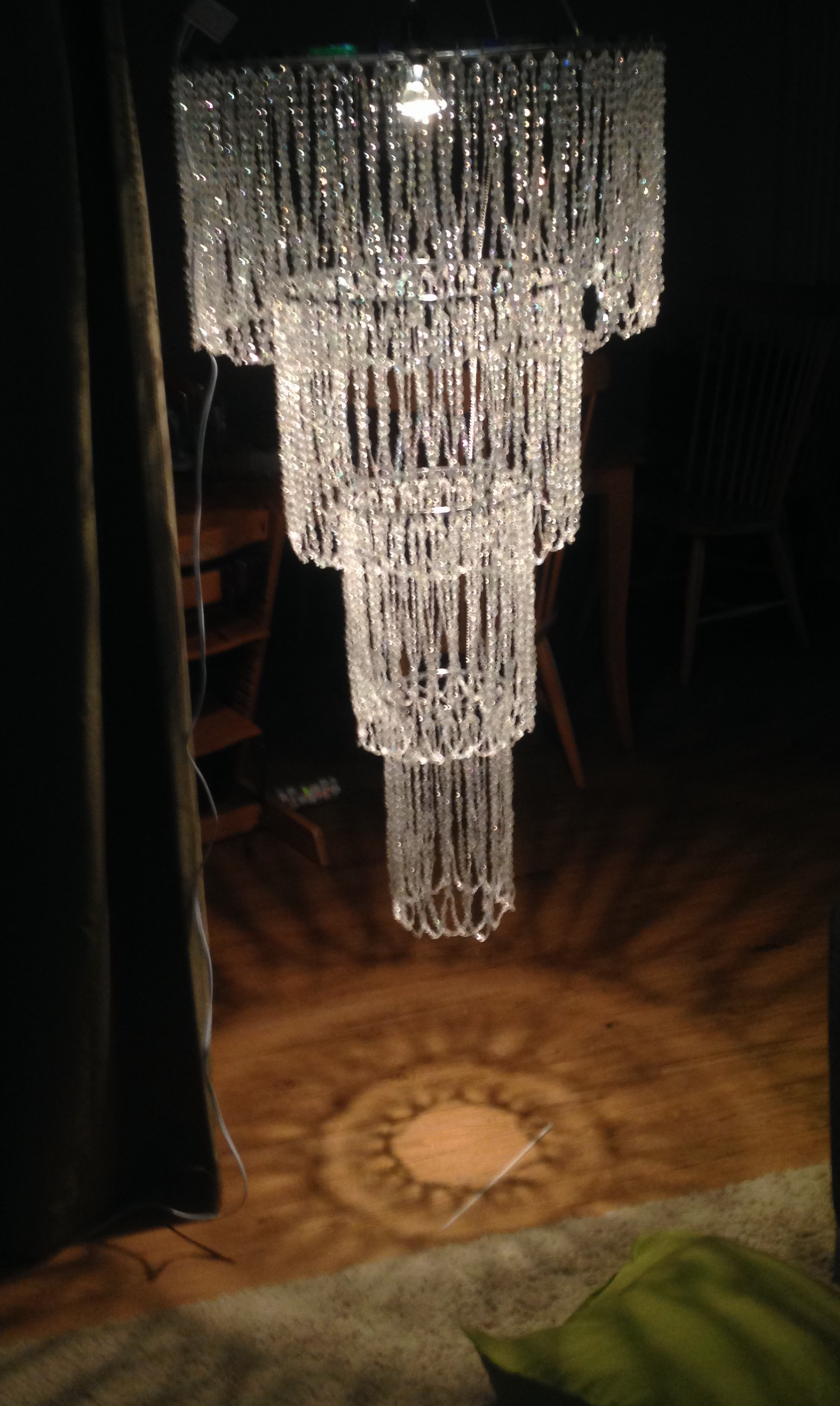 Elegant beaded 4 tier chandelier