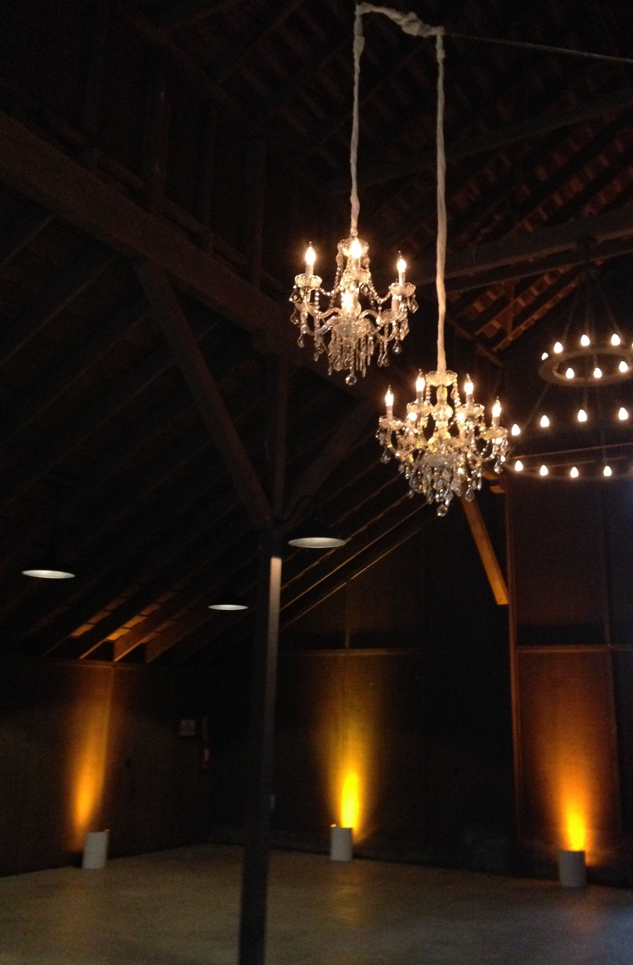 of chandeliers and lanterns available for rental from